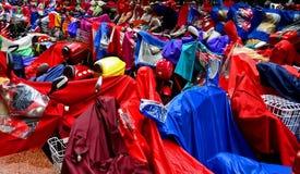 Raincoat on motorbikes Stock Images