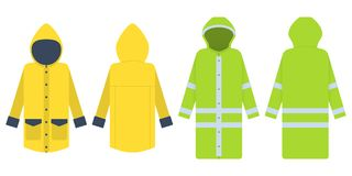 Raincoat. Vector illustration isolated on white.  Clothes protec. Raincoat. Vector illustration isolated on white. Two variants - yellow and green with Royalty Free Stock Image