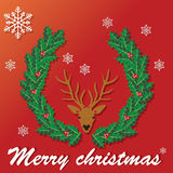 Raindeer head and wreath Royalty Free Stock Photos