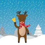 Raindeer mit Glocke Weihnachtskartenrotwild Lizenzfreie Stockbilder