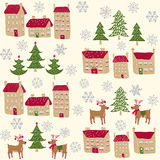 Raindeers, trees, snowflakes and houses pattern Stock Images