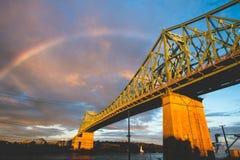 Raindow over bridge Royalty Free Stock Images