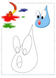 Raindrop coloring. Color illustration of a nice drop of rain coloring Stock Image