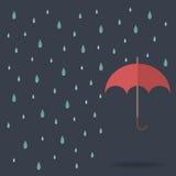 Raindrop with red umbrella Stock Photos