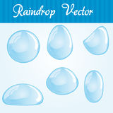 Raindrop set. Blue and white raindrop set over blue background stock illustration