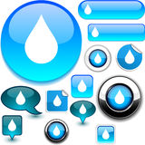 Raindrop signs. Raindrop illustration of glossy icons royalty free illustration