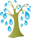 Raindrop tree. A stylized cartoon of a trees with raindrops instead of leaves Stock Image