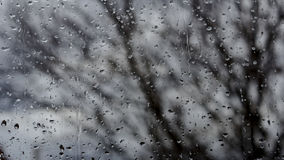 Raindrop. Window covered by raindrops from the outside Stock Photo