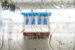 The raindrop on the window. Photoed on the train in China Stock Image