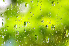 Raindrops on clear glass window after raining Royalty Free Stock Photography