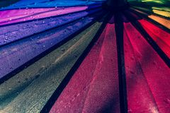 Raindrops on a colorful umbrella with all the colors of the rainbow close-up macro waterdrops background. royalty free stock photos