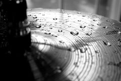 Raindrops on Cymbals. In black and white Stock Image