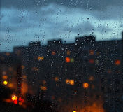 Rain and water drops in city dark sky Royalty Free Stock Images