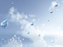 Raindrops falling from sky Stock Photos