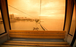 Raindrops on glass cabin funicular in Lisbon. Portugal Royalty Free Stock Photo