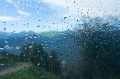 Raindrops on glass funicular. Sochi, Roza Khutor Royalty Free Stock Image