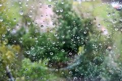 Raindrops on glass royalty free stock photography