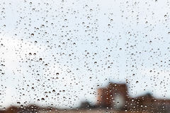 Raindrops on glass window Royalty Free Stock Photo