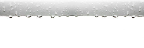 Raindrops. Hanging on plastic plank Stock Photo