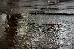 Free Raindrops In A Puddle On The Asphalt Stock Photos - 127150733
