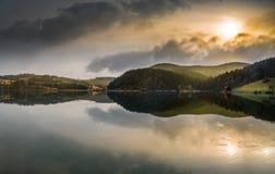 Raindrops on a lake surface stock photo