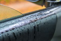 Raindrops on the leather upholstery of the car. Luxury car black leather texture interior background. royalty free stock photo