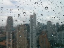 Raindrops. On the mirror in the city Stock Photo