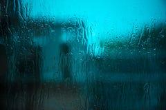 Raindrops na nadokiennego szkła powierzchni Fotografia Royalty Free