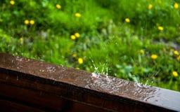 Raindrops na nadokiennej ramie na tle zielona trawa zdjęcia royalty free