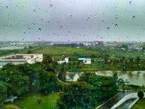 Raindrops na okno z zielonymi drzewami i smołowcową drogą Obraz Stock