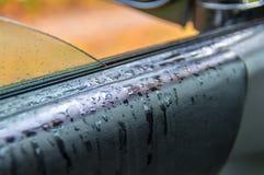Raindrops na rzemiennym tapicerowaniu samochód Luksusowy samochodowy czarny rzemienny tekstury wnętrza tło zdjęcie royalty free
