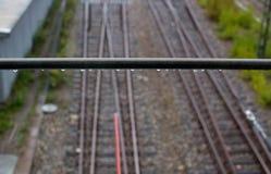 Railroad tracks changing Stock Photo