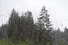 The raindrops running down the window stock photo