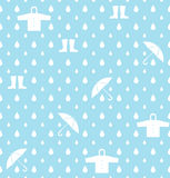 Raindrops umbrella and Rainwear pattern vector background Royalty Free Stock Photo