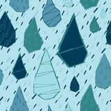 Raindrops Vector Seamless Pattern. Handdrawn. Stock Images
