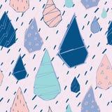 Raindrops Vector Seamless Pattern. Handdrawn. Raindrops Vector Seamless Pattern. Handdrawn Rainy Pattern Background. Naive Melancholic Raindrops Surface Pattern royalty free illustration