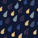 Raindrops Wektorowy Bezszwowy wzór Handdrawn Obrazy Royalty Free