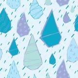 Raindrops Wektorowy Bezszwowy wzór Handdrawn Obraz Stock