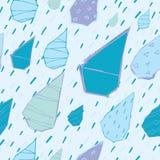 Raindrops Wektorowy Bezszwowy wzór Handdrawn Obrazy Stock