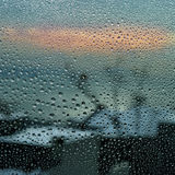 Raindrops on the window. Blurred background royalty free stock image