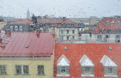 Raindrops on the Window. Raindrops and city on the Window Royalty Free Stock Image