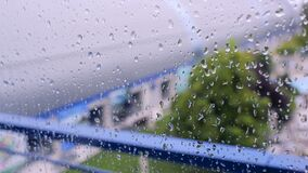 Raindrops on the window stock footage