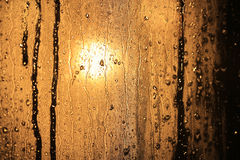 Raindrops in window glass Stock Photo
