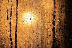 Raindrops in window glass Stock Photo