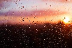 Raindrops on window glass. Stock Photo