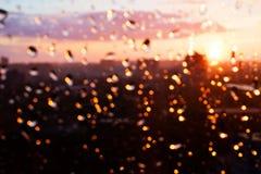 Raindrops on window glass. Royalty Free Stock Photo