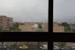 Raindrops on a window glass Royalty Free Stock Image