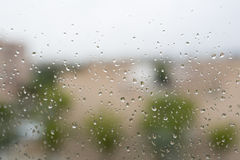 Raindrops on a window glass Royalty Free Stock Images