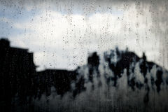 Raindrops in a window glass Stock Photography