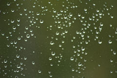 Raindrops. On a window with green background Royalty Free Stock Images